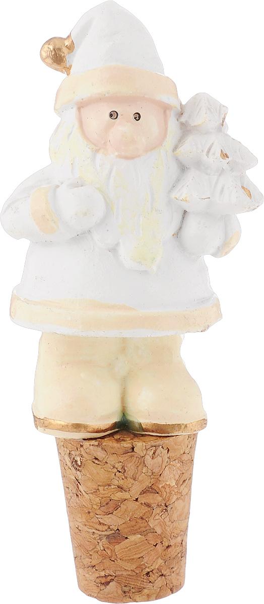 Пробка для бутылки новогодняя Magic Time Белый Дед Мороз, 3,5 х 2,5 х 8 см украшение новогоднее magic time дед мороз и медвежонок со светодиодной подсветкой 12 x 8 x 3 см
