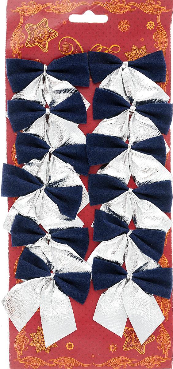 Украшение новогоднее Magic Time Бант, цвет: синий, серебряный, 5,5 х 6 см, 12 шт42770/76240Новогоднее украшение Magic Time Бант отлично подойдет для декорирования вашего дома и новогодней ели. Игрушка выполнена из полиэстера в виде бантика. Украшение можно привязать к ели.Елочная игрушка - символ Нового года. Она несет в себе волшебство и красоту праздника. Создайте в своем доме атмосферу веселья и радости, украшая всей семьей новогоднюю елку нарядными игрушками, которые будут из года в год накапливать теплоту воспоминаний.