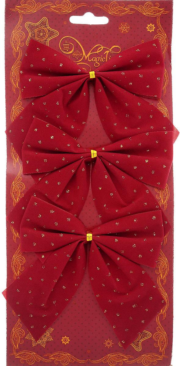 Украшение новогоднее Magic Time Бант, цвет: красный, золотой, 12 х 10,5 см, 3 шт42777/76246Новогоднее украшение Феникс-Презент Бант отлично подойдет для декорирования вашего дома и новогодней ели. Игрушка выполнена из полиэстера в виде бантика. Украшение можно привязать к ели.Елочная игрушка - символ Нового года. Она несет в себе волшебство и красоту праздника. Создайте в своем доме атмосферу веселья и радости, украшая всей семьей новогоднюю елку нарядными игрушками, которые будут из года в год накапливать теплоту воспоминаний.