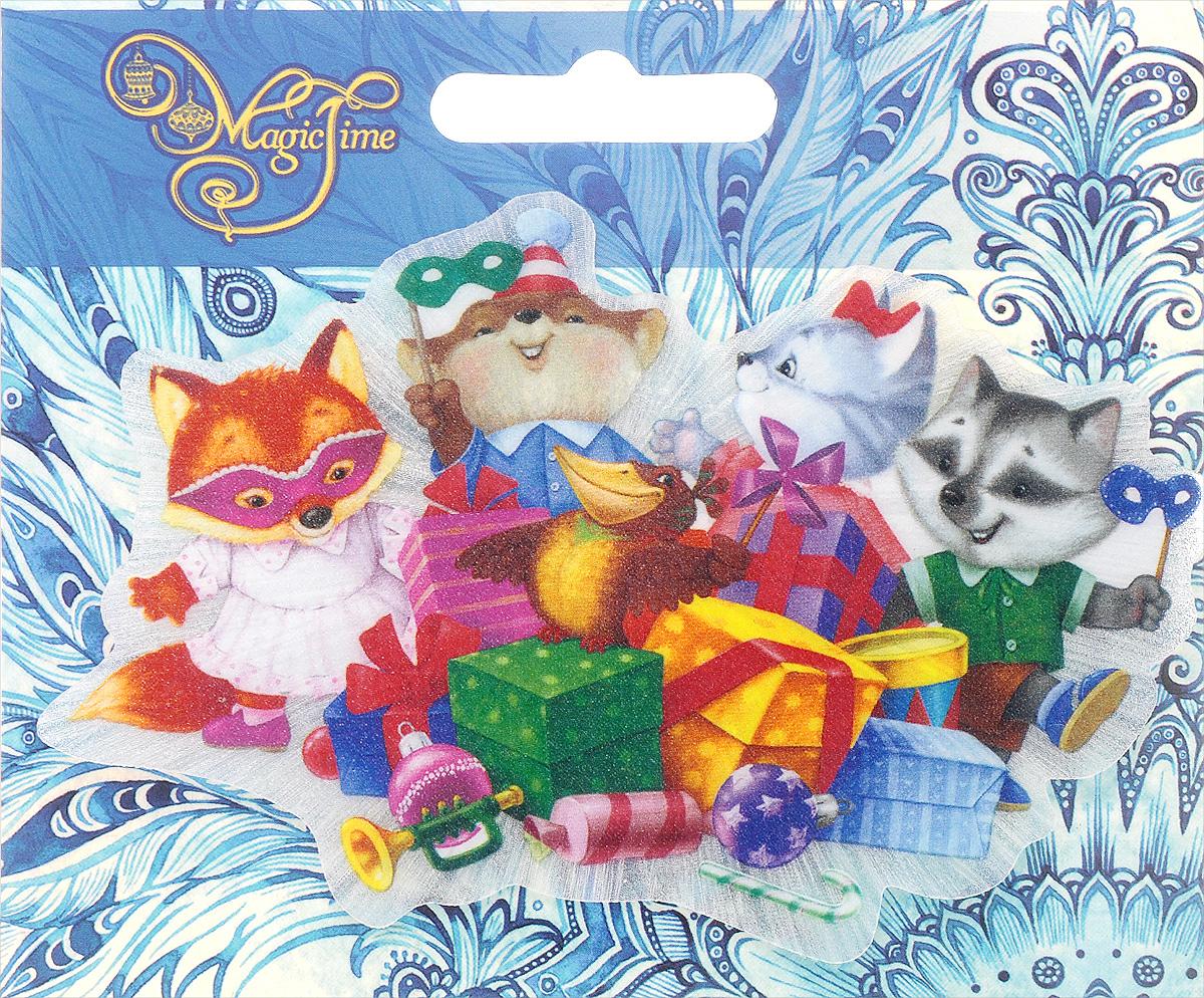 Украшение новогоднее Magic Time Новогодний маскарад, со светодиодной подсветкой, на присоске, 12 x 8,5 x 3 см украшение новогоднее magic time снеговики со светодиодной подсветкой на присоске 10 5 x 10 x 3 см