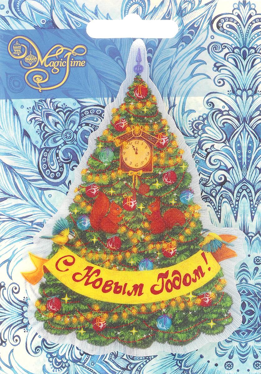 Украшение новогоднее Magic Time Новогодняя елка в золотых узорах, со светодиодной подсветкой, на присоске, 11,5 x 9 x 3 см украшение новогоднее magic time снеговики со светодиодной подсветкой на присоске 10 5 x 10 x 3 см