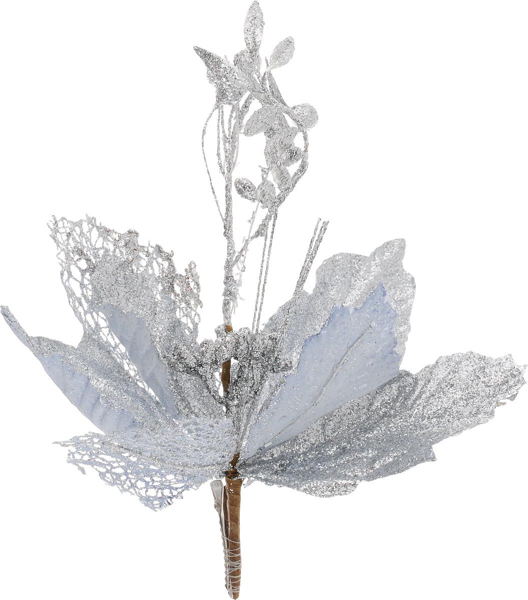 Украшение новогоднее Феникс-Презент Цветок, на клипсе, цвет: серебристый, длина 22 см42492Новогоднее украшение Феникс-Презент Цветок выполнено из поливинилхлорида в форме цветка на клипсе. Украшение можно прикрепить в любом понравившемся вам месте. Но, конечно, удачнее всего оно будет смотреться на праздничной елке.Елочная игрушка - символ Нового года. Она несет в себе волшебство и красоту праздника. Создайте в своем доме атмосферу веселья и радости, украшаяновогоднюю елку нарядными игрушками, которые будут из года в год накапливать теплоту воспоминаний.