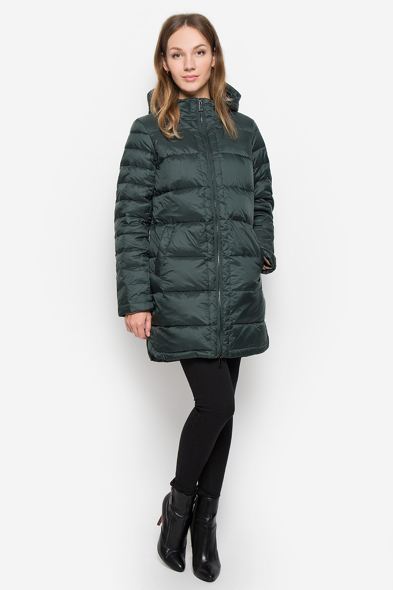 Пуховик женский Baon, цвет: темно-зеленый. B006583. Размер M (46) джемпер женский baon цвет темно синий b136561 размер m 46