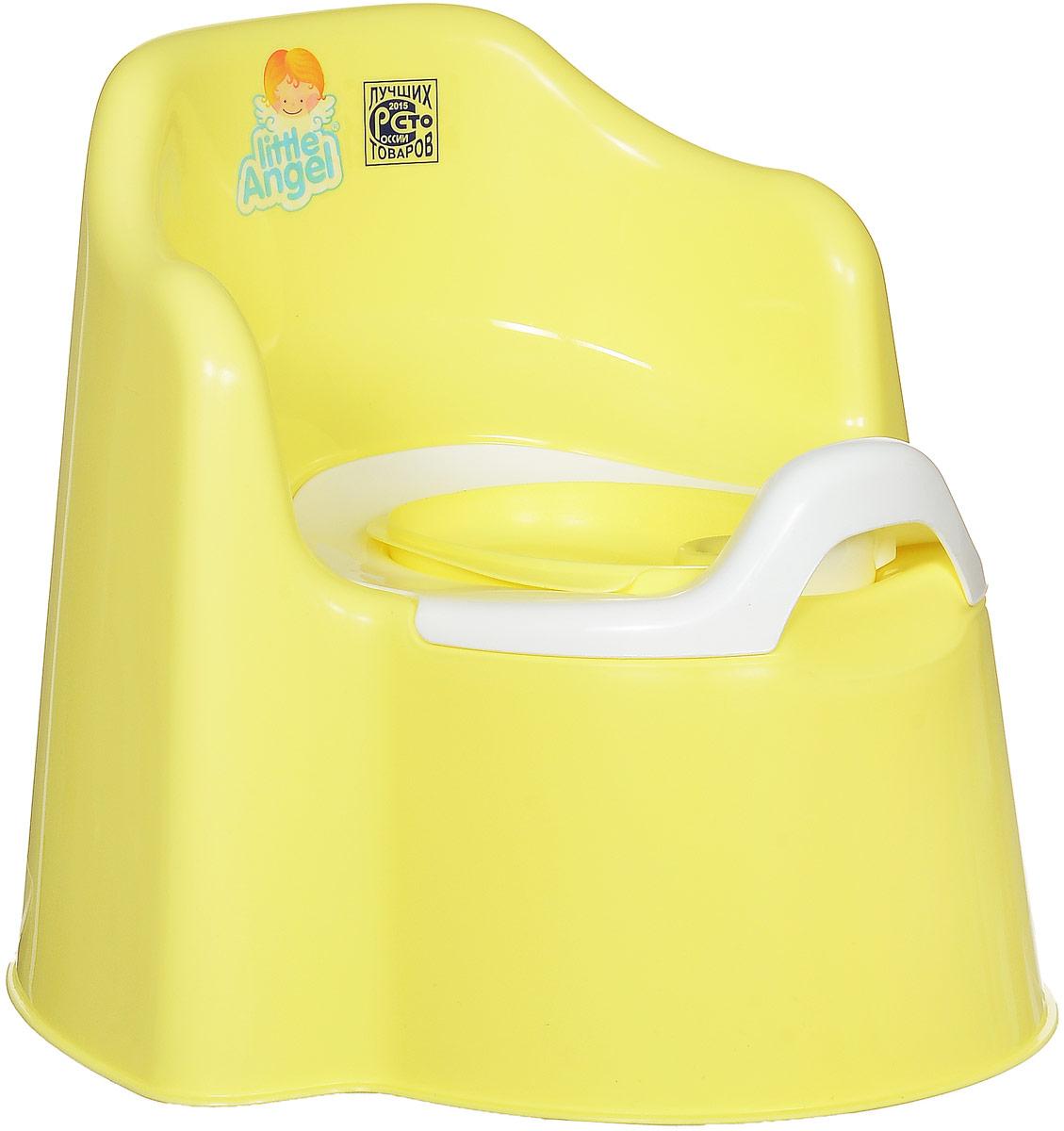 Little Angel Горшок детский Little King с крышкой цвет желтый -  Горшки и адаптеры для унитаза