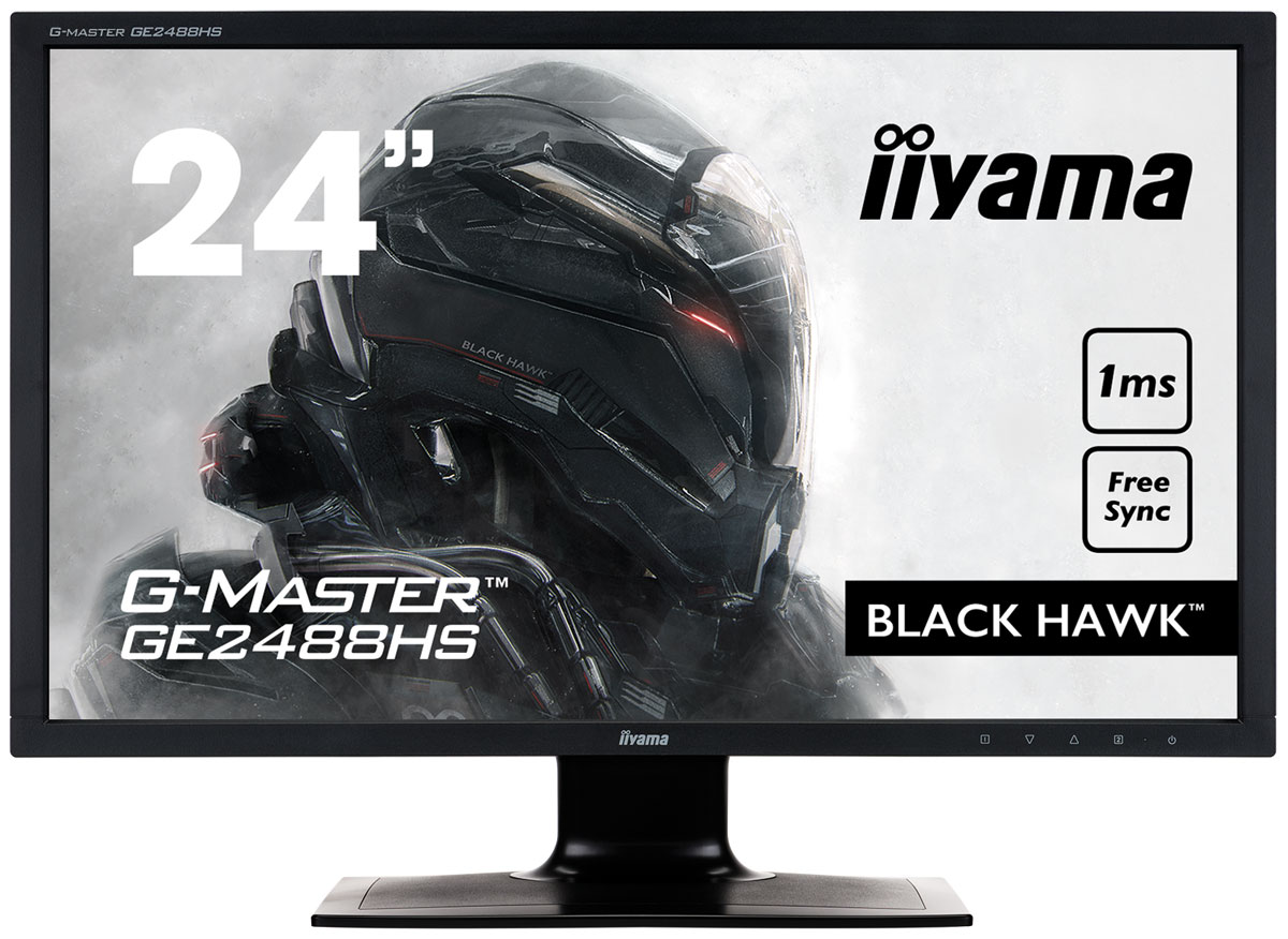 iiyama G-Master GE2488HS-B2, Black мониторGE2488HS-B2iiyama G-Master GE2488HS-B2 - профессиональный игровой монитор со временем отклика 1 мс.Данная модель по-настоящему меняет процесс игры, предоставляя профессиональным геймерам конкурентноепреимущество, необходимое для принятия решений за долю секунды. Время отклика монитора составляет всего 1мс, что гарантирует плавную и точную смену изображений, делая невозможным двоение и смазывание.Вы также можете настроить яркость и темные тона с функцией Black Tuner и лучше видеть игровые объекты,находящиеся в тени. Это идеальный монитор для стратегических игр (таких, как RTS, MOBA и MMO) итребовательных геймеров, которым подойдут лишь лучшие характеристики.Немерцающие мониторы с функцией подавления синего цвета - отличное решение для комфорта и здоровья вашихглаз. В них уровень синего цвета, воспроизводимого экраном и влияющего на усталость ваших глаз, значительноснижен.Играете с друзьями? Используйте качественные встроенные динамики. Не хотите никого беспокоить?Присоедините гарнитуру к аудиоразъему и прибавьте громкости.Регулировка наклона: 20° вверх; 2° вниз Покрытие экрана: матовое