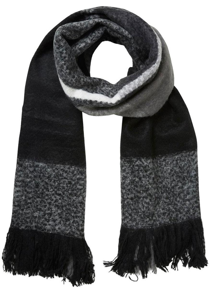 Шарф женский Vero Moda, цвет: черный, серый. 10135828. Размер 210 см х 60 см