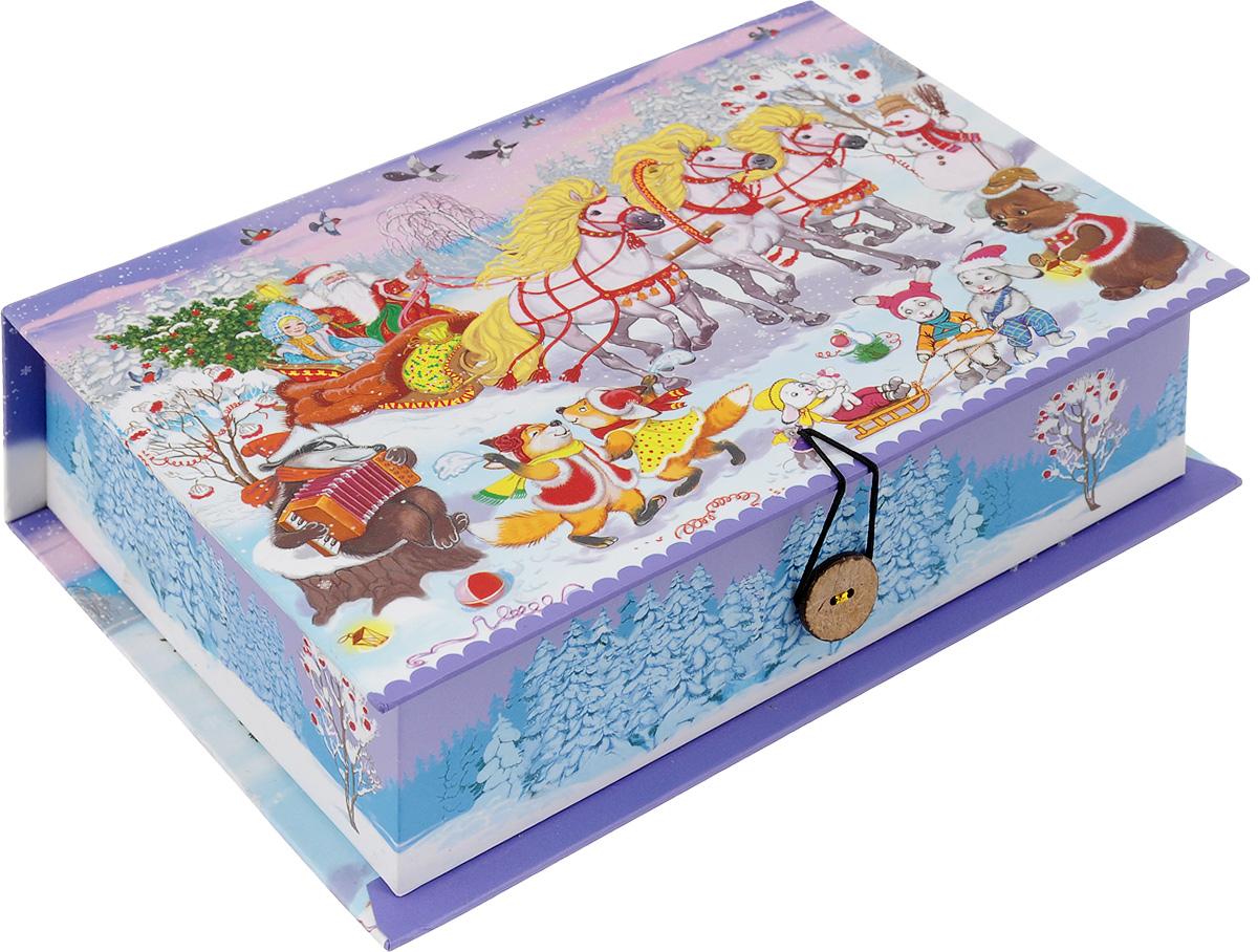 Коробка подарочная Феникс-Презент Новогодний праздник, 20 х 14 х 6 см41781Подарочная коробка Феникс-Презент Новогодний праздник, выполненная из плотного картона, закрывается на пуговицу. Крышка оформлена ярким изображением.Подарочная коробка - это наилучшее решение, если вы хотите порадовать ваших близких и создать праздничное настроение, ведь подарок, преподнесенный в оригинальной упаковке, всегда будет самым эффектным и запоминающимся. Окружите близких людей вниманием и заботой, вручив презент в нарядном, праздничном оформлении.Плотность картона: 1100 г/м2.