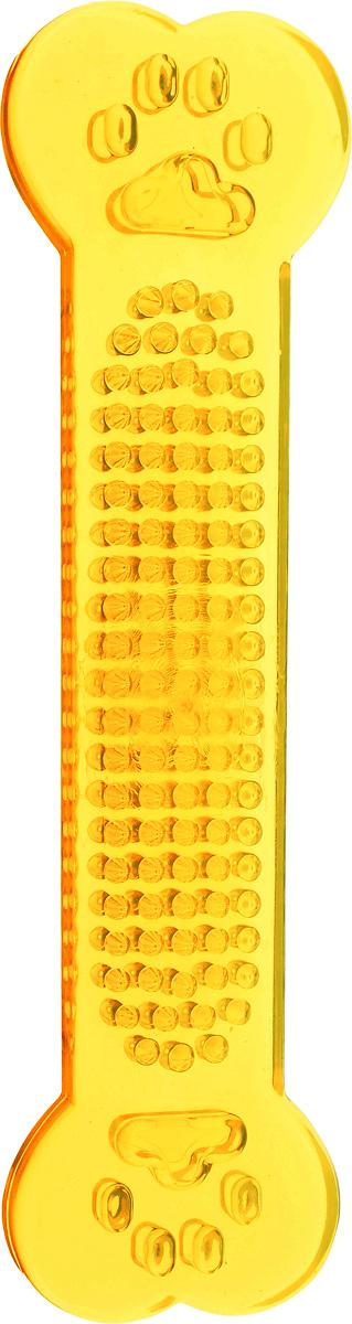 Игрушка для собак Каскад Кость шипованная для чистки зубов, цвет: оранжевый, длина 17,5 см игрушка для животных каскад мячик пробковый цвет зеленый 3 5 см