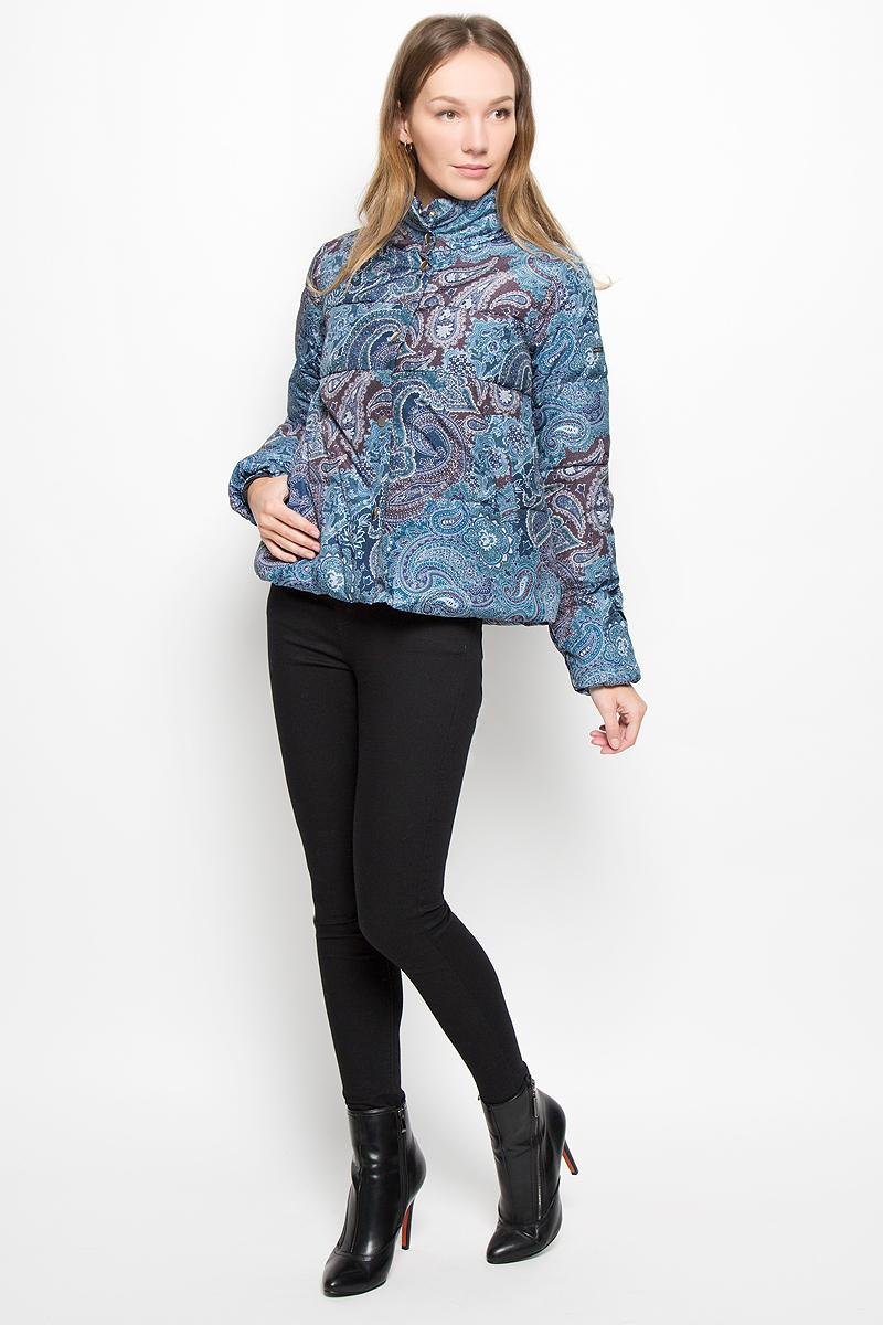 Пуховик женский Baon, цвет: синий. B016518. Размер XL (50) кардиган женский baon цвет черный b147505 black размер xl 50