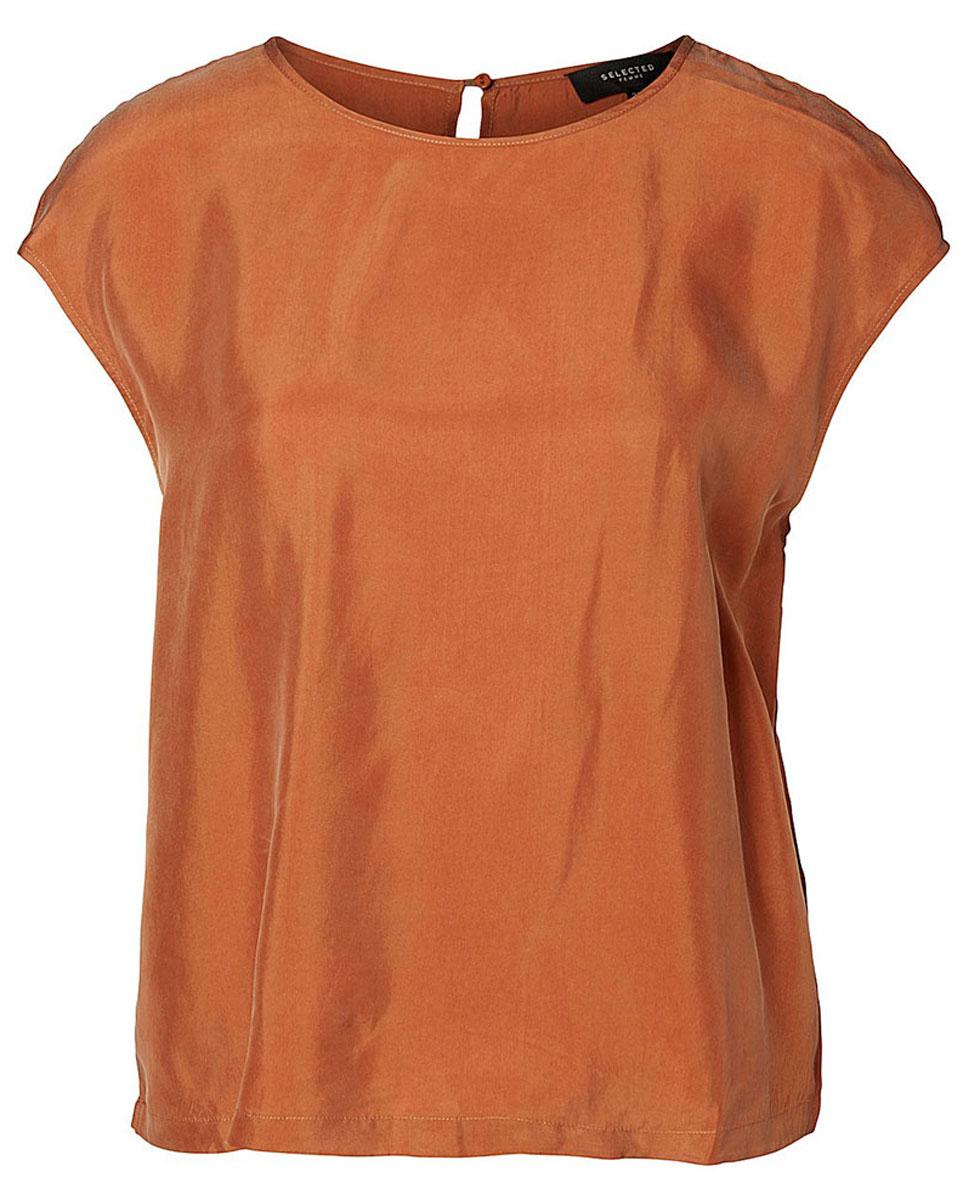Блузка женская Selected Femme, цвет: сиена. 16051746. Размер 36 (42)16051746_SierraЖенская блуза Selected Femme без рукавов, с круглым вырезом горловины выполнена из купро с добавлением вискозы. Блузка имеет свободный крой и застегивается на пуговицу на спинке.