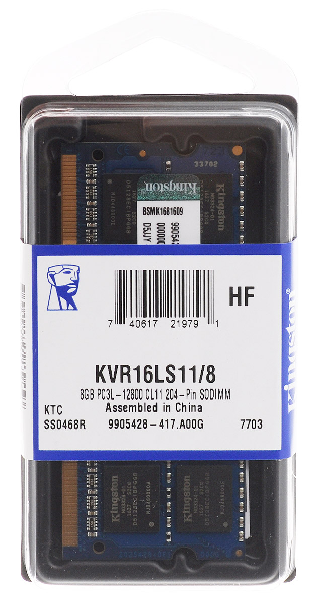Kingston DDR3L 8GB 1600 МГц модуль оперативной памяти (KVR16LS11/8)