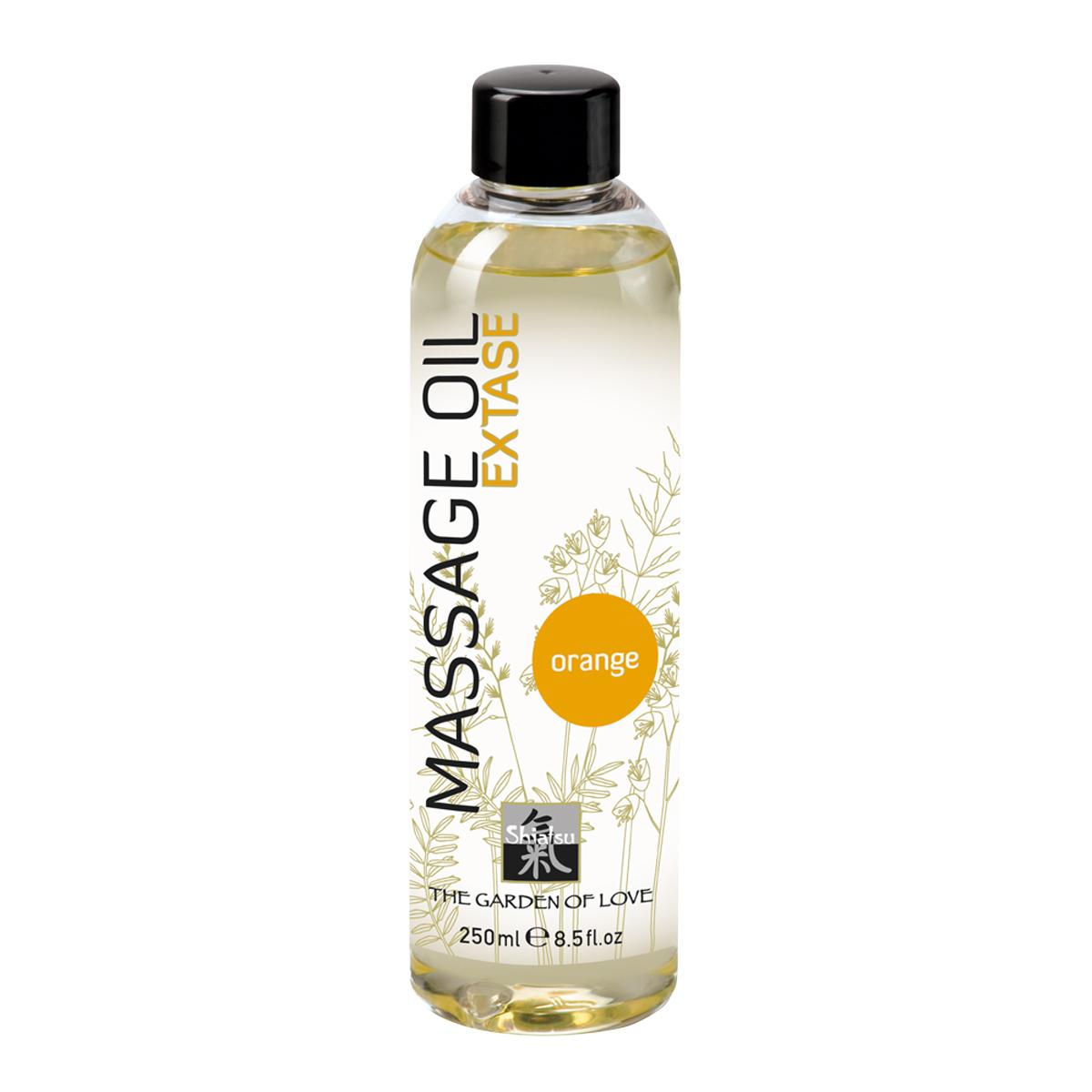 Shiatsu Массажное масло Extase Orange 250 мл66001Аромат апельсинового масла пробуждает чувства, увлажняет кожу, снимает внутреннее напряжение и улучшает настроение. Имеет легкую текстуру и поэтому легко отстирывается в случае попадания на постельное белье или одежду.