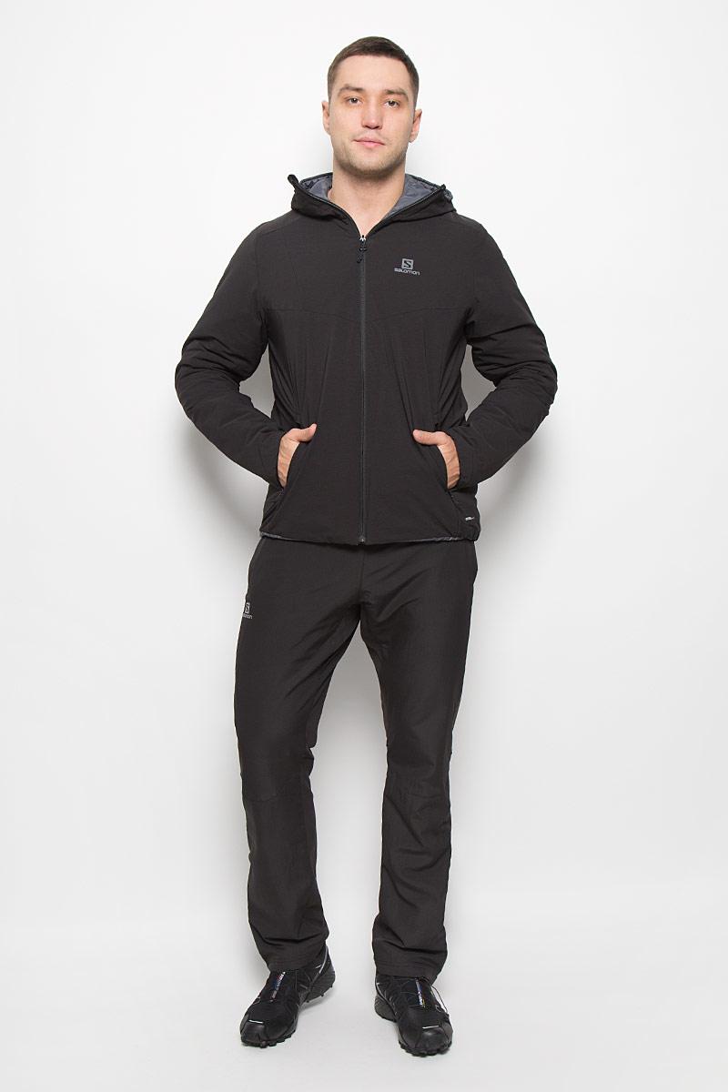 Куртка мужская Salomon Drifter Hoodie, цвет: черный, серый. L38216900. Размер L (52/54)L38216900Стильная двусторонняя мужская куртка Drifter Hoodie от Salomon изготовлена из нейлона и эластана с подкладкой из полиэстера. Куртка позволяет вам адаптироваться к любым условиям и менять свой стиль в зависимости от настроения. Благодаря технологии Advanced Skin Warm материал защитит от проникновение ветра. Утеплитель PrimaLoft Insulation ECO хорошо пропускает воздух, мало весит и сохраняет тепло. Лицевая ткань не пропускает влагу и ветер, а надетая мягкой внутренней стороной наружу куртка превращается в стильную одежду для отдыха на курорте и в городе.Куртка с несъемным капюшоном застегивается на застежку-молнию. По бокам капюшон присборен на резинки. Спереди модель имеет три втачных кармана на застежках-молниях, с внутренней стороны - два втачных кармана на застежках-молниях.