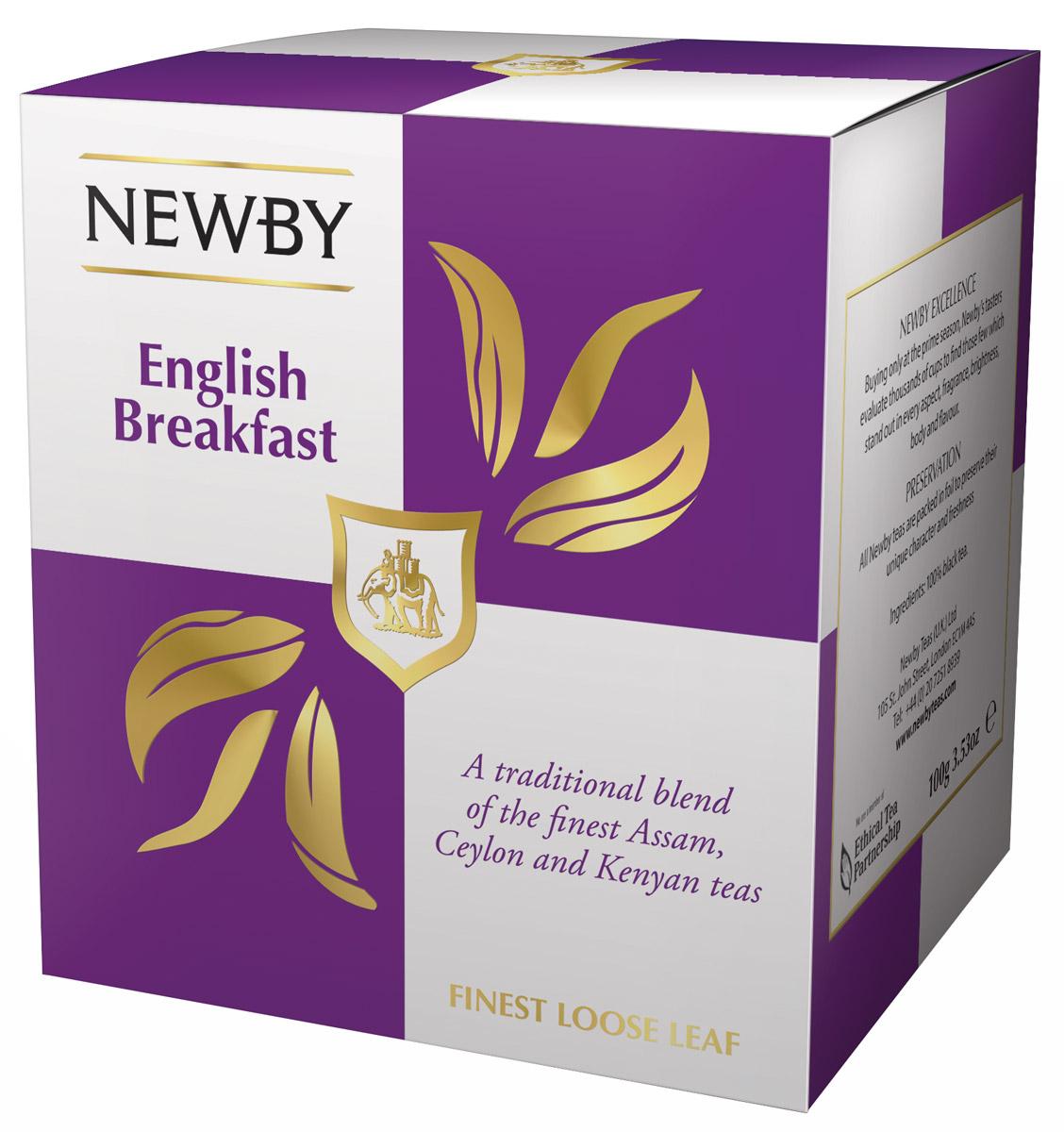 Newby English Breakfast черный листовой чай, 100 г0766031103287Newby English Breakfast- популярная смесь черных сортов чая из Ассама, Цейлона и Кении. Сбалансированный терпкий солодовый вкус с приятными цитрусовыми и пряными нотками. Чашка крепкого чая насыщенного янтарного цвета и богатого вкуса идеальна для начала дня.Всё о чае: сорта, факты, советы по выбору и употреблению. Статья OZON Гид