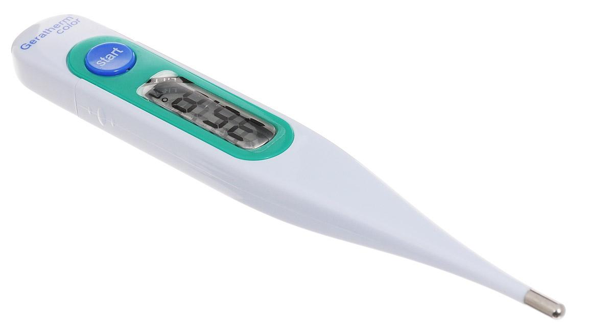 Geratherm Электронный термометр Color цвет зеленый4018674402118Электронный термометр Geratherm Color предназначен для измерения температуры у ребенка. Термометрподходит для измерения температуры под мышкой, орально и ректально. Благодаря удобному дисплею извуковому сигналу измерять температуру малышу максимально просто и легко.Электронный термометр обеспечивает точность измерения с погрешностью до 0,1°С. Предусмотрен индикаторразряда батареи. Время измерения составляет примерно 30-90 секунд в зависимости от метода измерения.Имеется два независимых теста автоматической проверки функционирования. 100% водонепроницаемый.Термометр оснащен функцией запоминания последнего измерения. Увеличенный дисплей со встроенной линзойпредназначен для слабовидящих людей. Устройство также имеет индикатор состояния элемента питания,звуковой сигнал, ударопрочный корпус и функцию автоматического отключения. Измерение температуры электронным термометром имеет особенности по сравнению с ртутным термометром итребует точного соблюдения инструкции.Срок службы батарейки составляет свыше 3-х лет при 10-ти измерениях в день Диапазон измерений: 32-43,9 °С Разрешение: 0,1 °С Не содержит ртуть Термометр упакован в пластиковый футляр Для работы термометра необходима 1 батарейка напряжением 1,5V типа LR41 (входит в комплект)