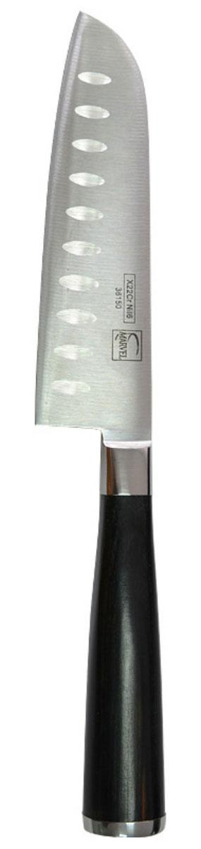 Нож сантоку Marvel Profession Knives, длина лезвия 12,5 см36150Нож сантоку Marvel - незаменимый помощник на вашей кухне. Лезвие, изготовленное из стали, более стойкое к воздействию кислот, содержащихся в продуктах, более гигиенично и не подвержено коррозии. Кроме того, лезвие из стали сохраняет остроту дольше, чем другие ножи. Легкая, отлично сбалансированная и приятная на ощупь рукоятка удобна в использовании. Такой нож идеально подходит для измельчения, нарезки ломтиками и кубиками овощей, фруктов, рыбы и мяса.
