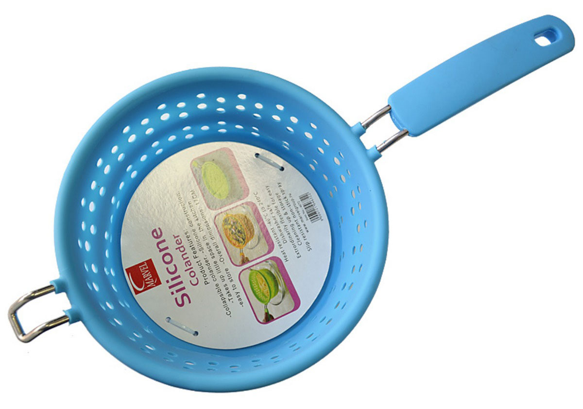 Дуршлаг Marvel, силиконовый, складной, диаметр 17 см4672Дуршлаг Marvel, изготовленный из жаропрочного силикона, станет незаменимым помощником на вашей кухне. Он предназначен для процеживания, ополаскивания и стекания макарон, овощей, фруктов. Дуршлаг оснащен удобной металлической ручкой с силиконовой вставкой. Дуршлаг компактно складывается, что делает его удобным для хранения.
