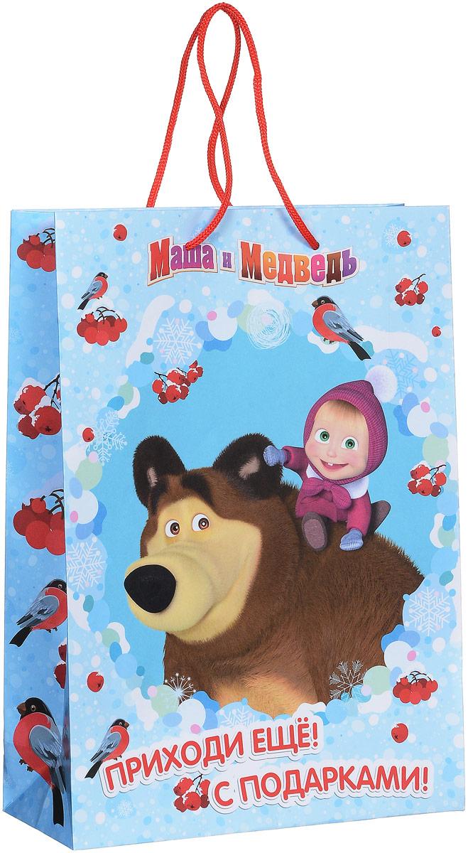 Маша и Медведь Пакет подарочный Маша зимой 35 см х 25 см х 9 см, Росмэн