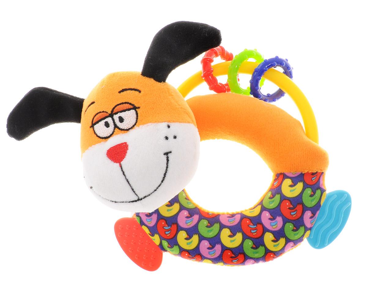 Bondibon Мягкая игрушка-погремушка Собака-пищалка с прорезывателями