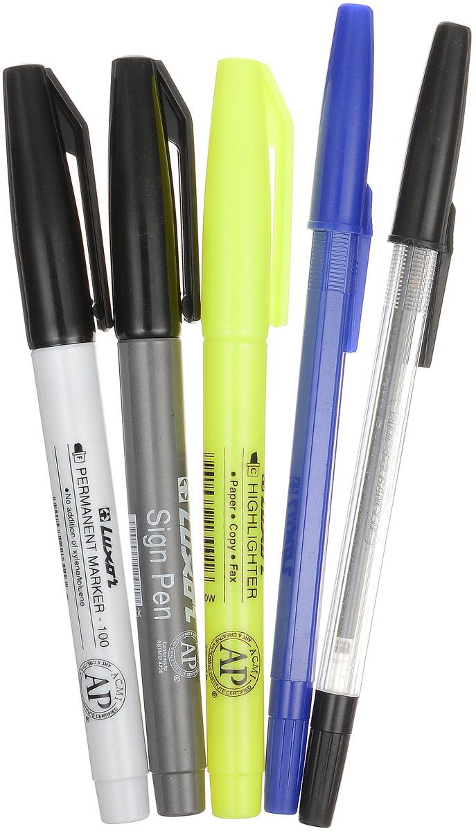 Luxor Набор канцелярский 5 предметов1321Канцелярский набор Luxor станет незаменимым атрибутом в учебе.Набор включает в себя две шариковые ручки с синими и черными чернилами, маркер, текстовыделитель и ручку для подписи. У ручек, маркеров и текстовыделителя имеются колпачки с удобными клипами. Маркеры заправлены черными чернилами, текстовыделитель - желтым. Канцелярский набор Luxor - идеальное решение для школы и офиса!