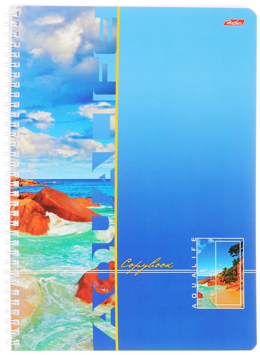 Hatber Тетрадь Аквалайф 96 листов в клетку цвет голубойТО-496Тетрадь Hatber Аквалайф отлично подойдет для школьников, студентов и офисных работников.Обложка, выполненная из плотного картона, позволит сохранить тетрадь в аккуратном состоянии на протяжении всего времени использования. Лицевая сторона оформлена изображением морского пейзажа.Внутренний блок тетради, соединенный металлическим гребнем, состоит из 96 листов белой бумаги. Стандартная линовка в клетку голубого цвета без полей.