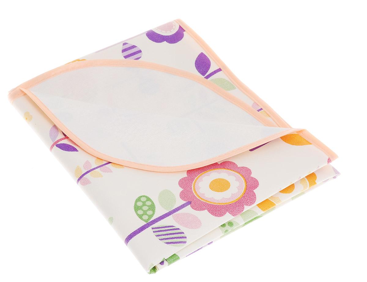 Колорит Клеенка подкладная с окантовкой цвет белый персиковый фиолетовый 70 см х 100 см -  Подгузники и пеленки