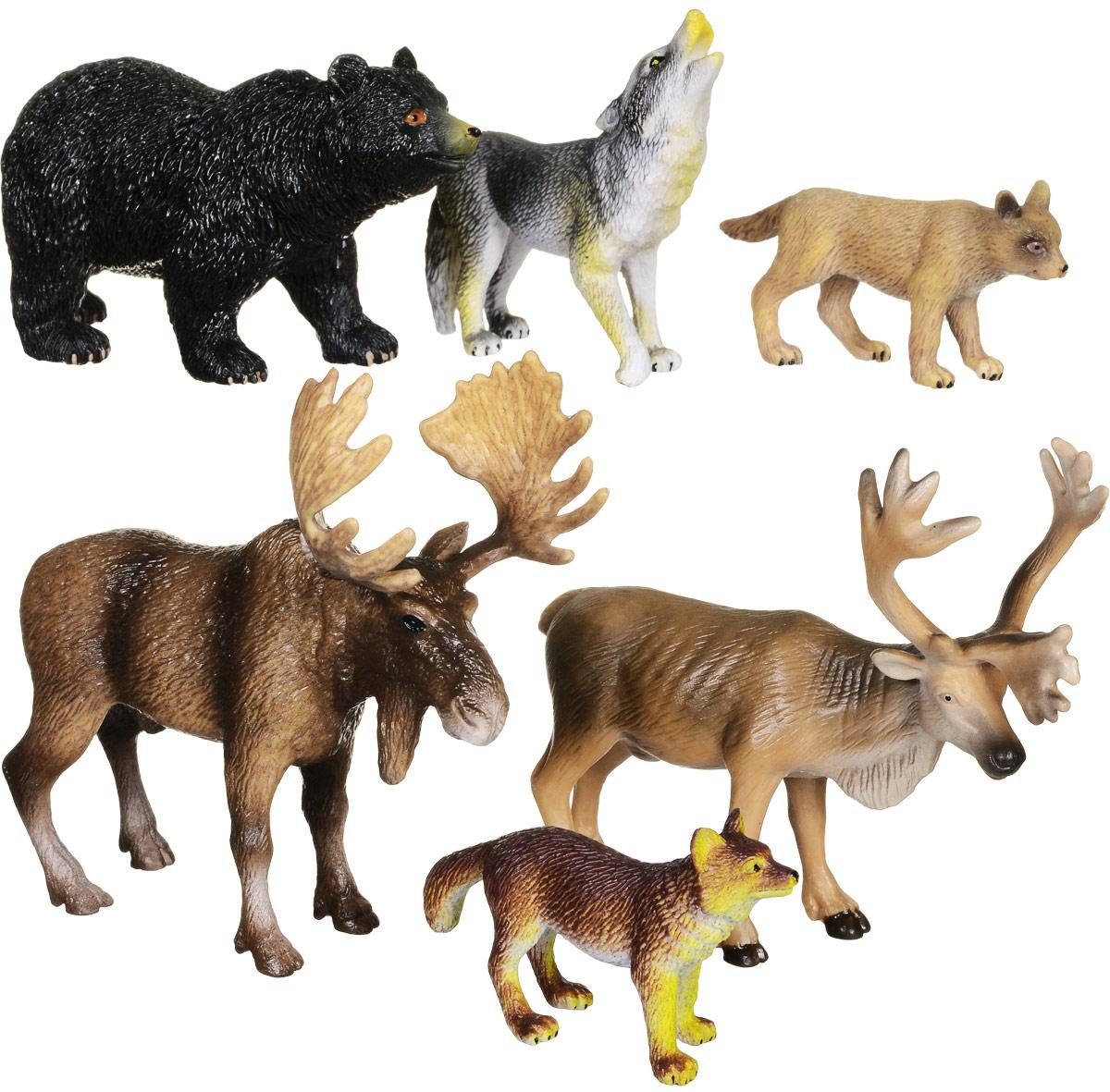 Wenno Набор фигурок Животные Северной Америки 6 шт warcraft набор фигурок лотар чернорук грифон и волк 4 шт