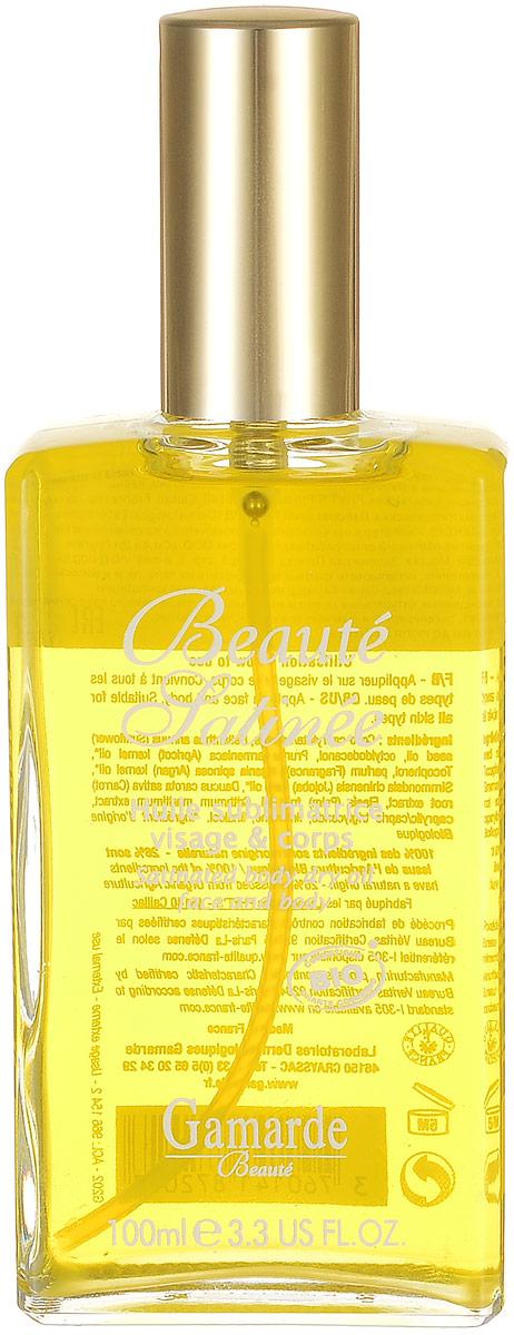 GamARde Beaute Сухое масло Уход-шелк для лица, тела и волос 100 млC47631Сухое масло покрывает ваше тело шелковистой вуалью. Оно состоит из ингредиентов со 100% натуральным происхождением. Имеет уникальную композицию драгоценных натуральных масел и витамина Е и после нежного нанесения питает, регенерирует и смягчает кожу лица, тела и волос.