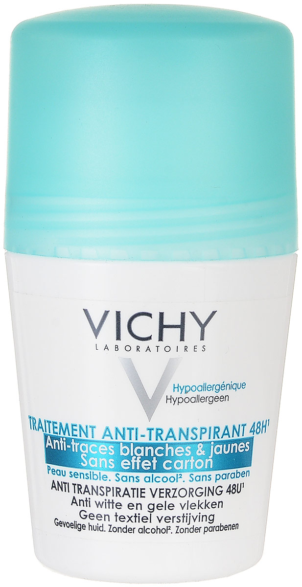 Vichy Дезодорант-антиперспирант 48 часов спрей против белых и желтых пятен, 50 млM5976900Предназначен для женщин с чувствительной кожей, которые страдают от интенсивного потоотделения и ищут средство с высокой эффективностью. Предотвращающее появление желтых и белых пятен на одежде, обеспечивающее надежную защиту на 48 часов. Дезодорант быстро высыхает, оставляет ощущение мягкой, шелковистой кожи на протяжении всего дня.Протестировано под дерматологическим контролем. Гипоаллергенная формула, не содержит спирта, без парабенов.