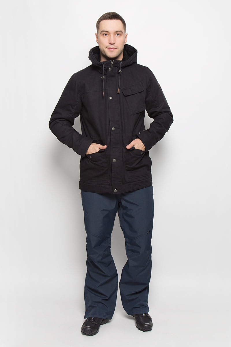 Куртка мужская ONeill Am Offshore, цвет: черный. 650112-9010. Размер S (46)650112-9010Мужская куртка ONeill Am Offshore с длинными рукавами и несъемным капюшоном выполнена из хлопка. Подкладка изготовлена из 100% полиамида. Наполнитель - синтепон. Капюшон изделия оснащен шнурком-кулиской со стопперами. Куртка застегивается на застежку-молнию спереди и имеет ветрозащитный клапан на кнопках. Изделие оснащено тремя накладными карманами на клапанах с кнопками спереди и одним внутренним втачным карманом. Манжеты рукавов дополнены кнопками. Объем талии регулируется при помощи внутреннего шнурка-кулиски.