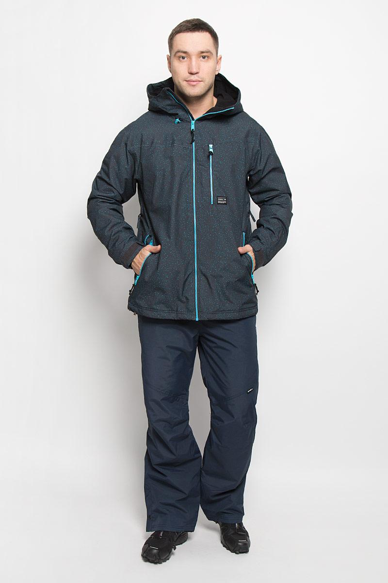 Куртка для сноуборда мужская ONeill Pm Sector, цвет: темно-серый. 650026-5950. Размер XL (52)650026-5950Мужская куртка для сноуборда ONeill Pm Sector выполнена из полиэстера с подкладкой из синтепона.Модель с длинными рукавами и несъемным капюшоном застегивается на застежку-молнию спереди. Изделие дополнено тремя втачными карманами на застежках-молниях, внутренним втачным карманом на кнопке и накладным карманом-сеткой, также имеется небольшой кармашек на рукаве. Рукава дополнены эластичными резинками на манжетах, а также хлястиками с липучками, которые позволяют регулировать обхват манжет. По бокам куртки, от линии талии до середины рукавов, расположены вентиляционные отверстия с сетчатыми вставками, закрывающиеся на застежки-молнии. Куртка оснащена внутренней противоснежной вставкой на кнопках. Низ куртки дополнен шнурком-кулиской. Водонепроницаемость: 10 000 мм. Паронепроницаемость: 10 000 гр/м/24ч.