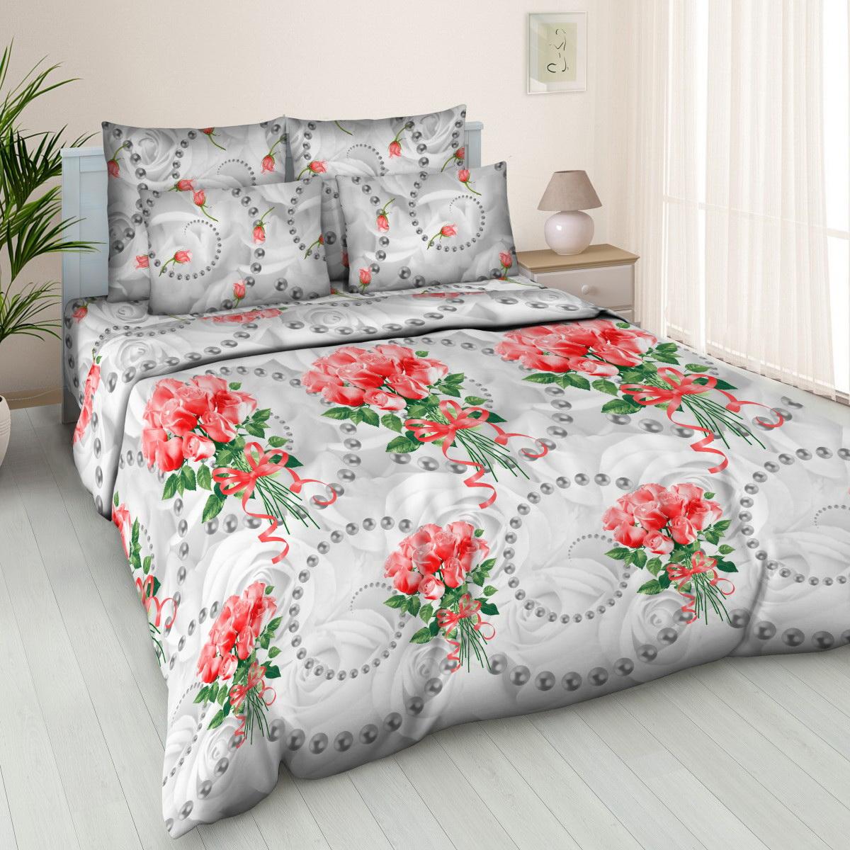 Комплект белья Cleo Жемчужная роза, евро, наволочки 70x70