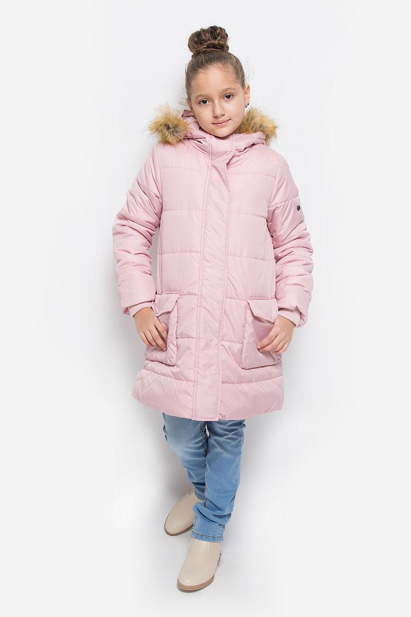 Пальто для девочки Button Blue, цвет: светло-розовый. 216BBGC45021200. Размер 104, 4 года
