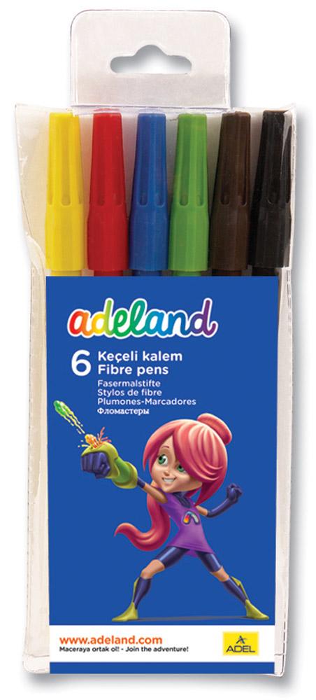 Adel Набор цветных фломастеров Adeland 6 шт222-0222-100Цветные фломастеры Adel Adeland созданы специально для детей, любящих рисовать. Каждый фломастероснащен вентилируемым колпачком и заправлен быстро сохнущими чернилами. Они подходят для рисования,письма или раскрашивания на бумаге, картоне и дереве. Набор состоит из 6 фломастеров с водорастворимымичернилами.Фломастеры упакованы в пластиковый футляр с изображением героини Adelia из турецкогомультфильма Renk Koruyuculari.Не рекомендуется детям до 3-х лет.