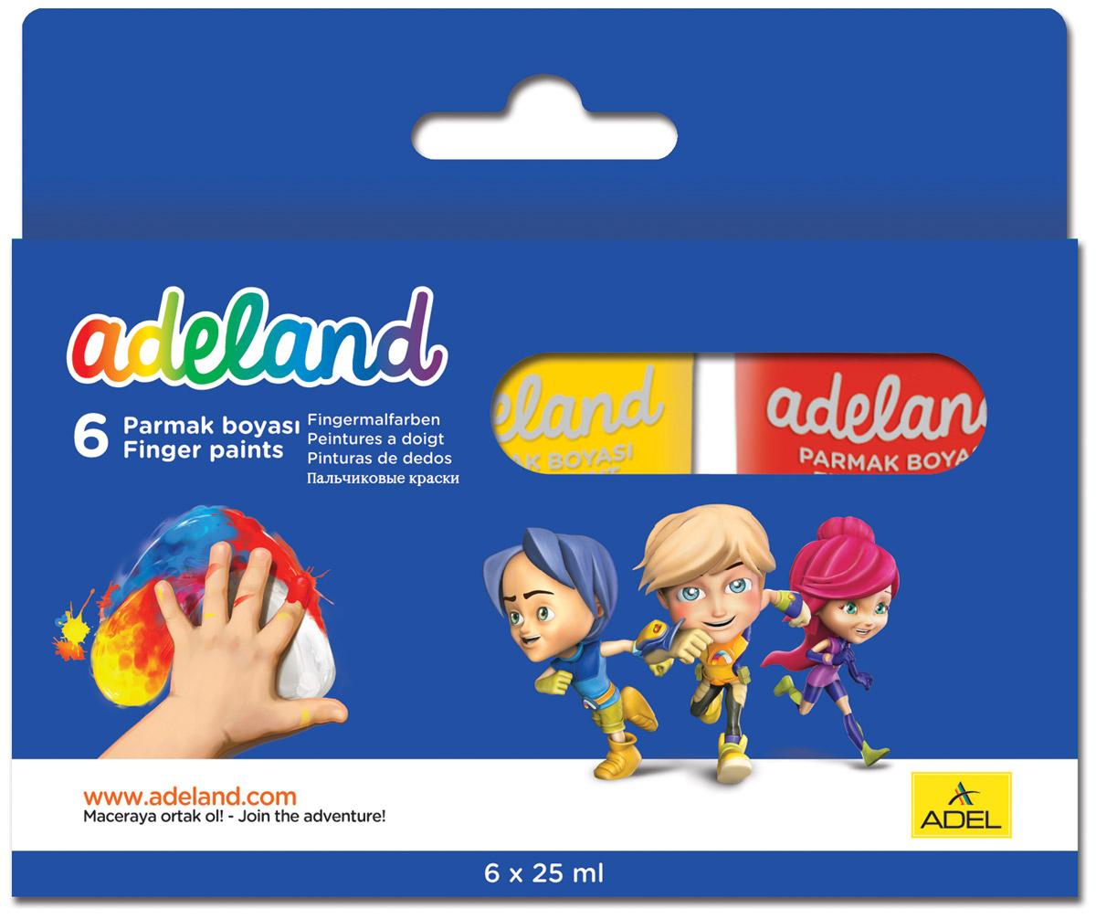 Adel Краски пальчиковые Adeland 6 цветов234-0620-100Водорастворимые пальчиковые краски Adel Adeland созданы для рисования пальцами, кисточкой или губкой набумаге и картоне.Путем смешивания красок вы можете получить неограниченное количество тонов.Водорастворимые краски находятся в пластиковых баночках и упакованы в картонную коробку.В комплектвходит 6 насыщенных цветов: желтый, черный, зеленый, синий, белый, красный.