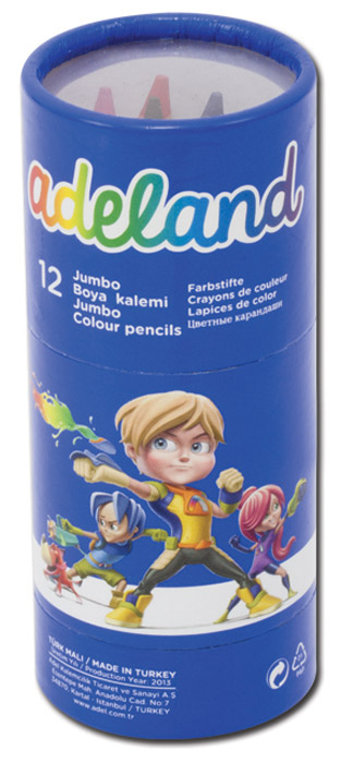 Adel Набор цветных карандашей Adeland Jumbo Hexa 12 шт122-2BK3DA10Цветные шестигранные карандаши Adel Adeland Jumbo Hexa созданы специально для маленькой детской руки.Набор состоит из 12 ярких карандашей: голубого, синего, фиолетового, красного, оранжевого, желтого, розового,салатового, зеленого, черного, коричневого и цвета хаки.Также в комплект входит пластиковая точилка сдвумя отверстиями для стандартных карандашей на 12 мм и для специализированных. Специальная технологияпроклейки карандаша предотвращает повреждение грифеля при падении.Не рекомендуется детям до 3-х лет.