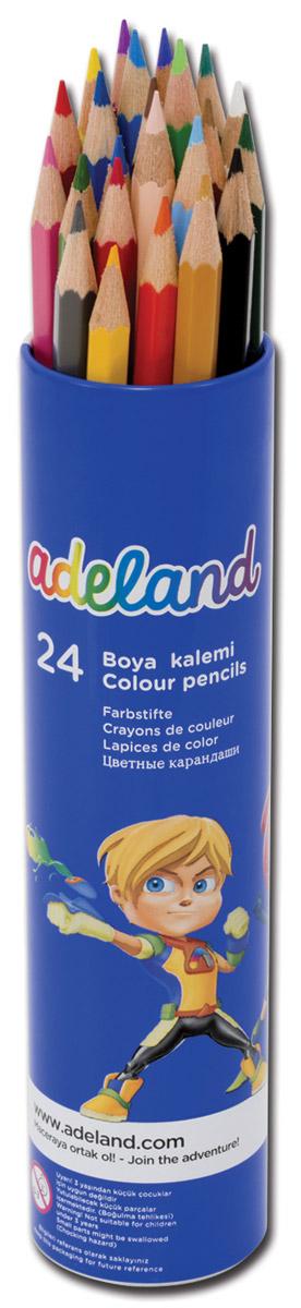 Adel Набор цветных карандашей Adeland 24 шт211-2360-103Цветные карандаши Adel Adeland созданы специально для маленькой детской руки. Специальная технологияпроклейки предотвращает повреждение грифеля при падении. Набор состоит из 24 ярких карандашей, которыенаходятся в удобном алюминиевом тубусе с изображением супер-героя.Не рекомендуется детям до 3-х лет.