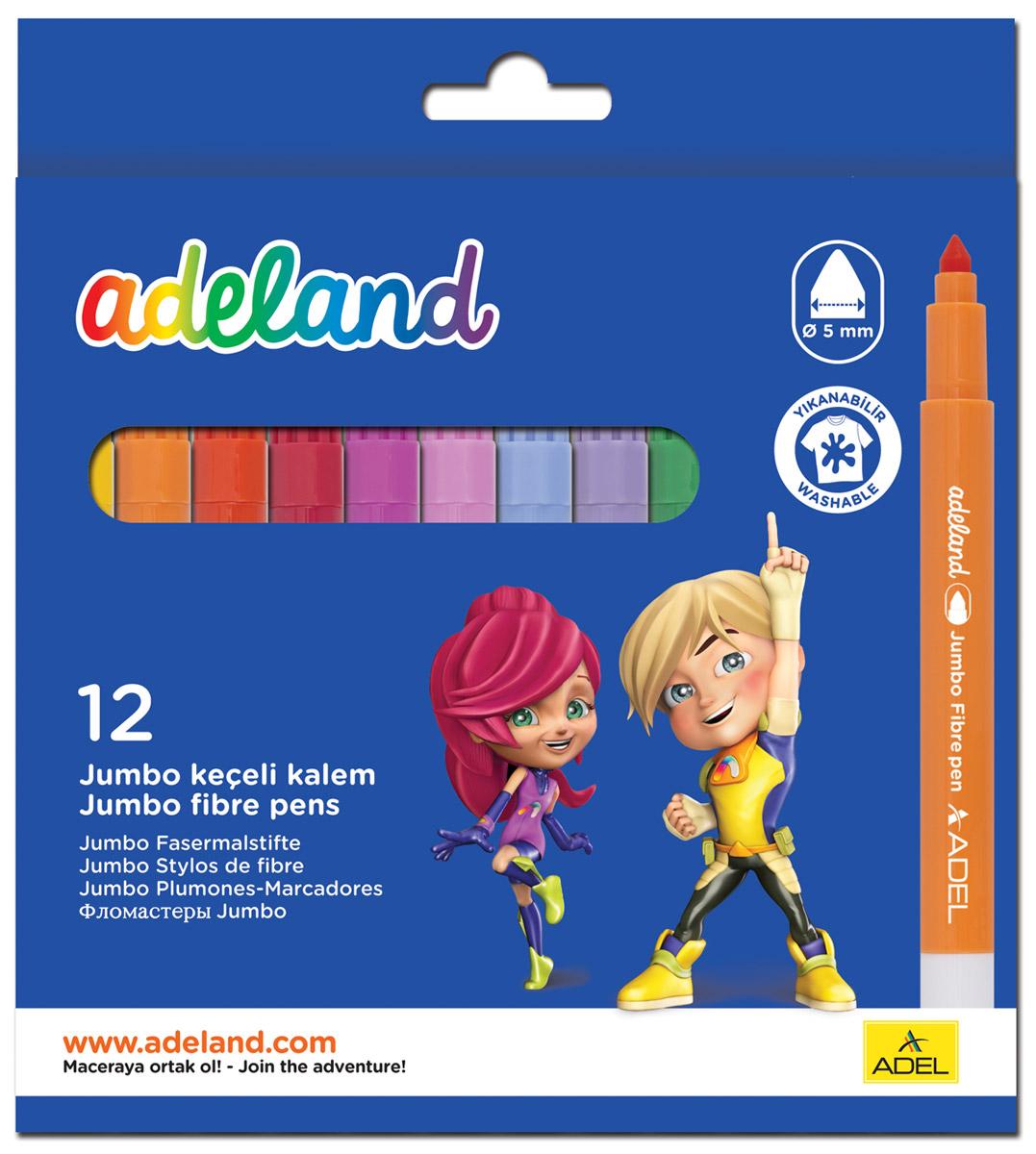 Adel Набор цветных фломастеров Adeland Jumbo 12 шт434-0214-100Цветные фломастеры Adel Adeland созданы специально для детей, любящих рисовать. Каждый фломастероснащен вентилируемым колпачком и заправлен быстро сохнущими чернилами, которые легко смываются сомногих текстильных материалов. Они прекрасно подходят для рисования, письма или раскрашивания на бумагеили картоне. Набор состоит из 12 фломастеров. Коробка оформлена изображением героев Adelia и Hiro из турецкого мультфильма Renk Koruyuculari.Не рекомендуется детям до 3-х лет.