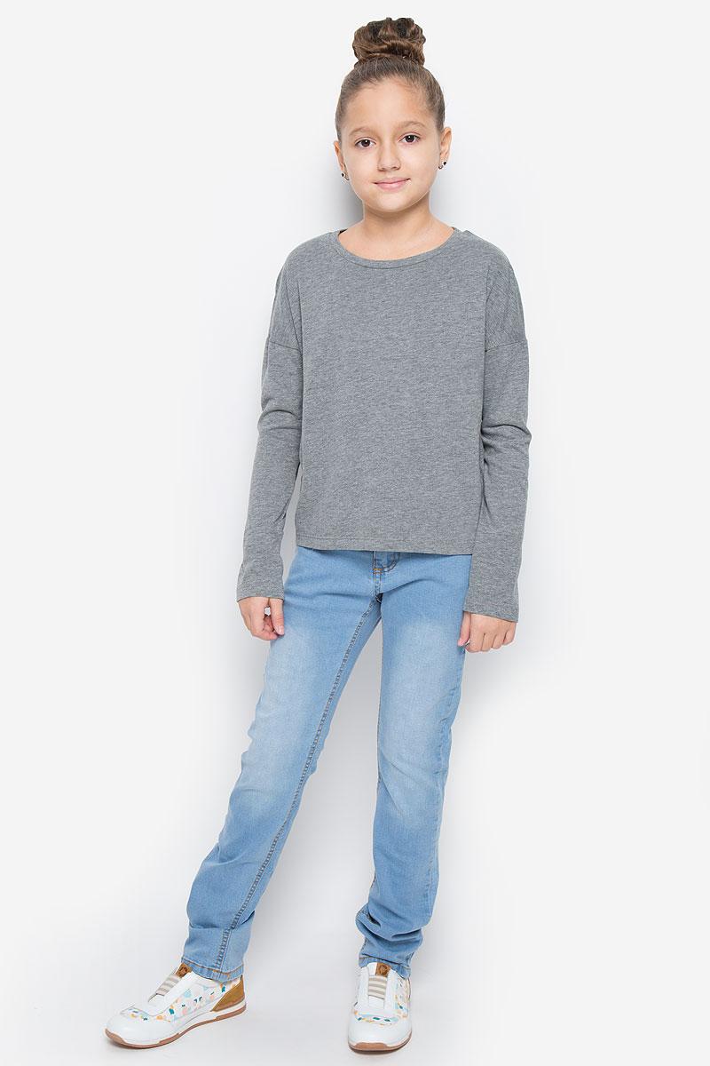 Футболка с длинным рукавом для девочки Button Blue, цвет: серый меланж. 216BBGC12022300. Размер 98, 3 года пижама для девочки button blue цвет серый 217bbgu97011907 размер 104 4 года