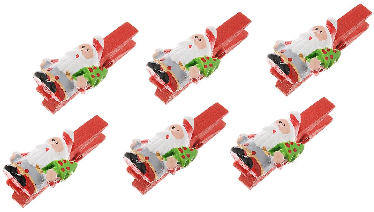 Набор новогодних украшений Феникс-Презент Санты с елками, на прищепке, 6 шт набор новогодних украшений феникс презент медали с елочками на прищепках 6 шт