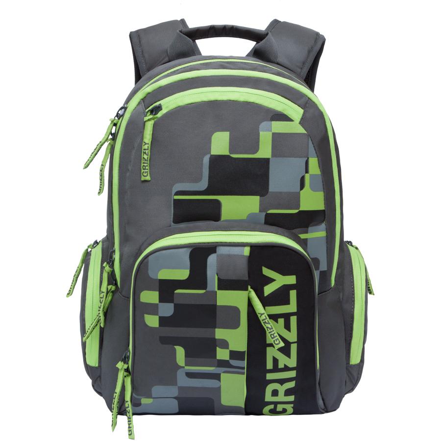 Рюкзак городской мужской Grizzly, цвет: темно-серый, салатовый. 22 л. RU-719-1/4
