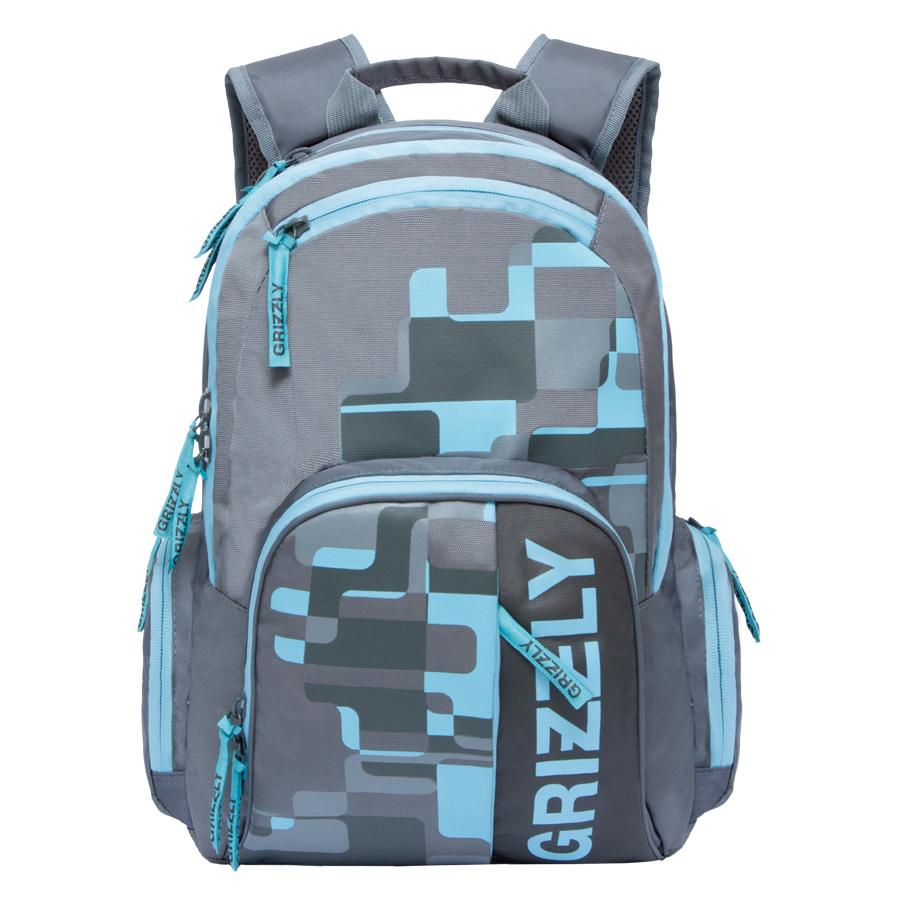 Рюкзак городской Grizzly, цвет: серый, светло-голубой. 22 л. RU-719-1/1 - Рюкзаки