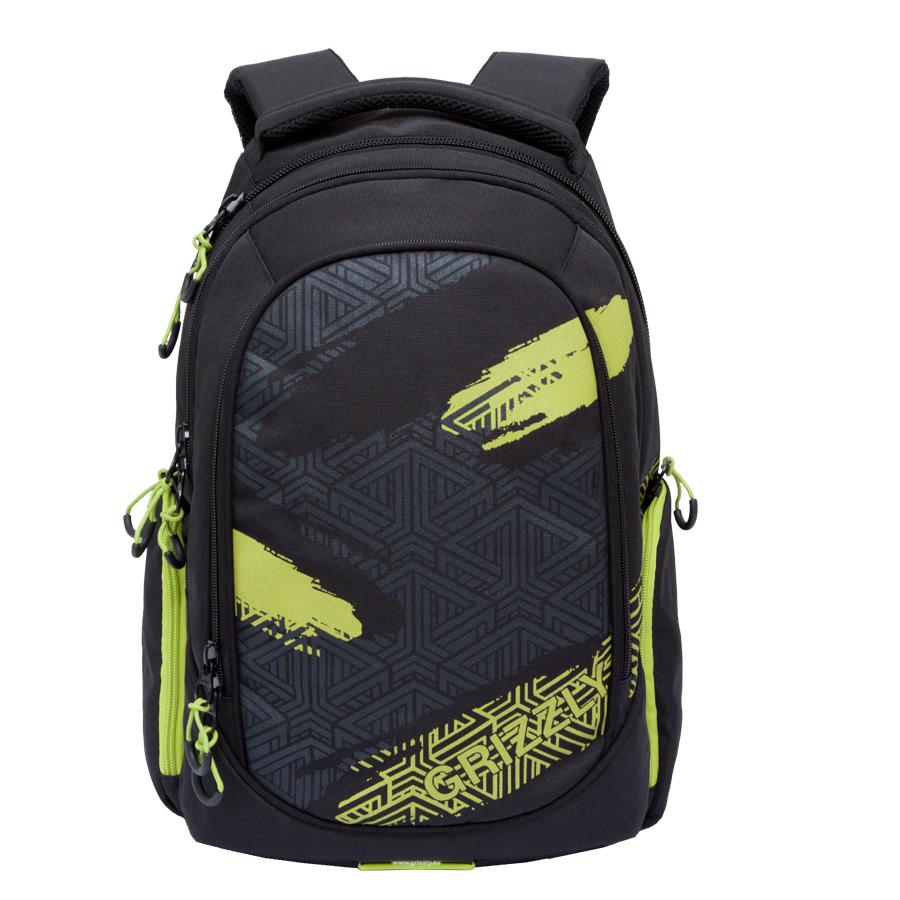 Рюкзак городской мужской Grizzly, цвет: черный, салатовый. 32 л. RU-712-1/2