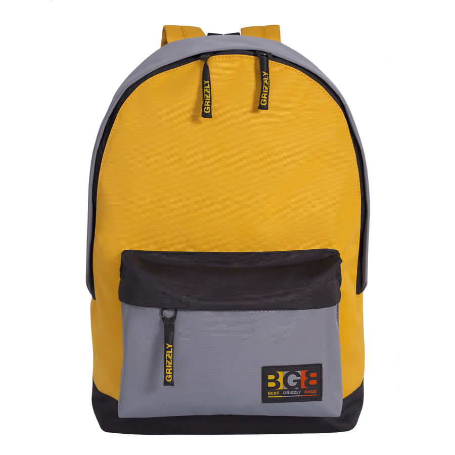 Рюкзак молодежный Grizzly, цвет: черный-желтый. 18 л. RU-704-3/1 рюкзак городской grizzly цвет черный желтый 22 л ru 603 1 2