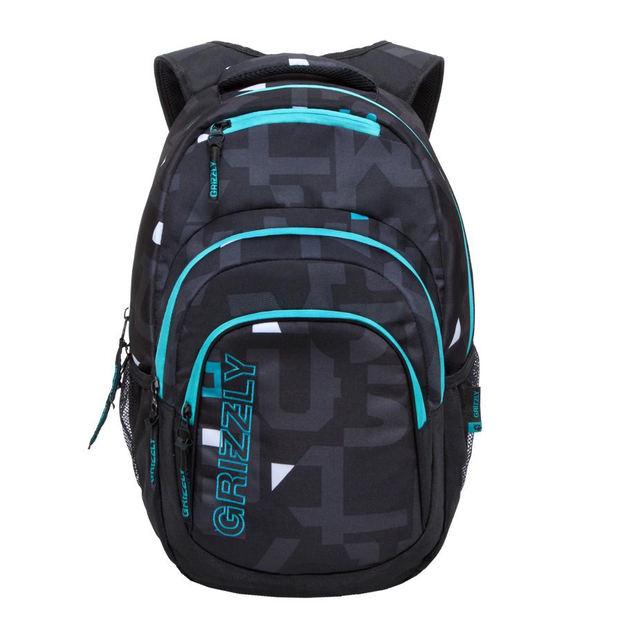 Рюкзак молодежный Grizzly, цвет: черный, бирюза. 32 л. RU-704-2/4RU-704-2/4Рюкзак молодежный, одно отделение, карман на молнии на передней стенке, объемный карман на молнии на передней стенке, боковые карманы из сетки, внутренний составной пенал-органайзер, внутренний укрепленный карман для ноутбука, укрепленная спинка, карман быстрого доступа в верхней части рюкзака, мягкая укрепленная ручка, нагрудная стяжка-фиксатор, укрепленные лямки