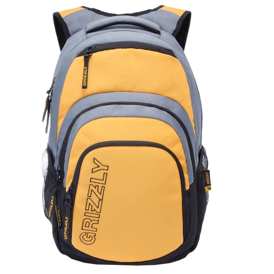 Рюкзак городской Grizzly, цвет: черный, желтый, серый. 32 л. RU-704-1/1RU-704-1/1Рюкзак городской Grizzl выполнен из высококачественного таслана. Рюкзак имеет ручку-петлю для подвешивания и две укрепленные лямки, длина которых регулируется с помощью пряжек. Модель имеет одно основное отделение, которое дополнено внутренним составным пеналом-органайзером и укрепленным карманом для ноутбука. Передняя сторона оснащена двумя объемными карманами на молнии и верхним кармашком быстрого доступа.Боковые стенки дополнены объемными карманами из сетки. Тыльная сторона рюкзака имеет укрепленную спинку и нагрудную стяжку-фиксатор.