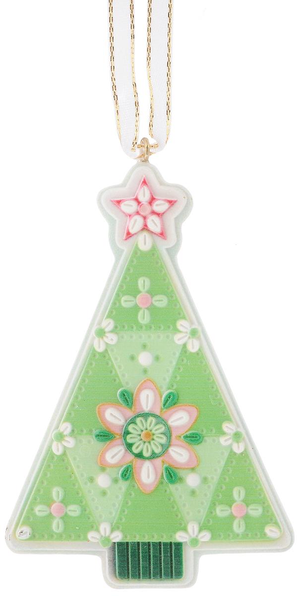 Украшение новогоднее подвесное Magic Time, 7,7 х 11,5 см41764Новогоднее подвесное украшение Magic Time выполнено из полирезина в виде елочки и украшено блестками. С помощью специальной петельки украшение можно повесить в любом понравившемся вам месте. Но, конечно, удачнее всего оно будет смотреться на праздничной елке.Елочная игрушка - символ Нового года. Она несет в себе волшебство и красоту праздника. Создайте в своем доме атмосферу веселья и радости, украшая новогоднюю елку нарядными игрушками, которые будут из года в год накапливать теплоту воспоминаний.