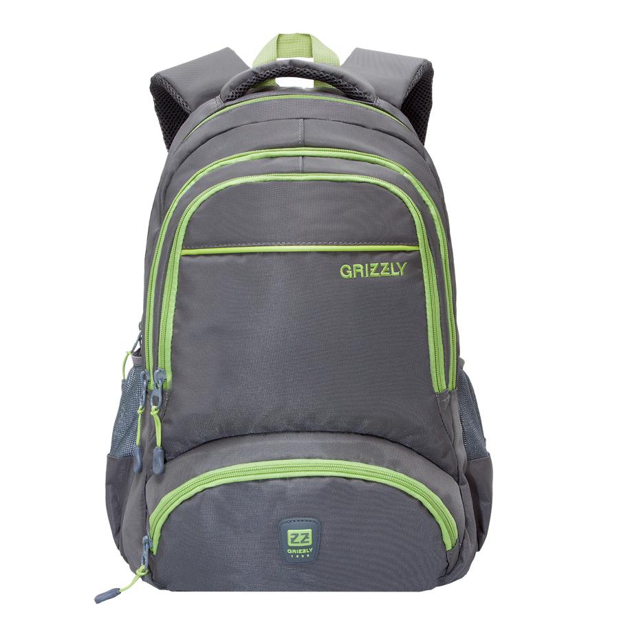 Рюкзак городской Grizzly, цвет: серый, салатовый. 24 л. RU-618-6/4 часы электронные для детей