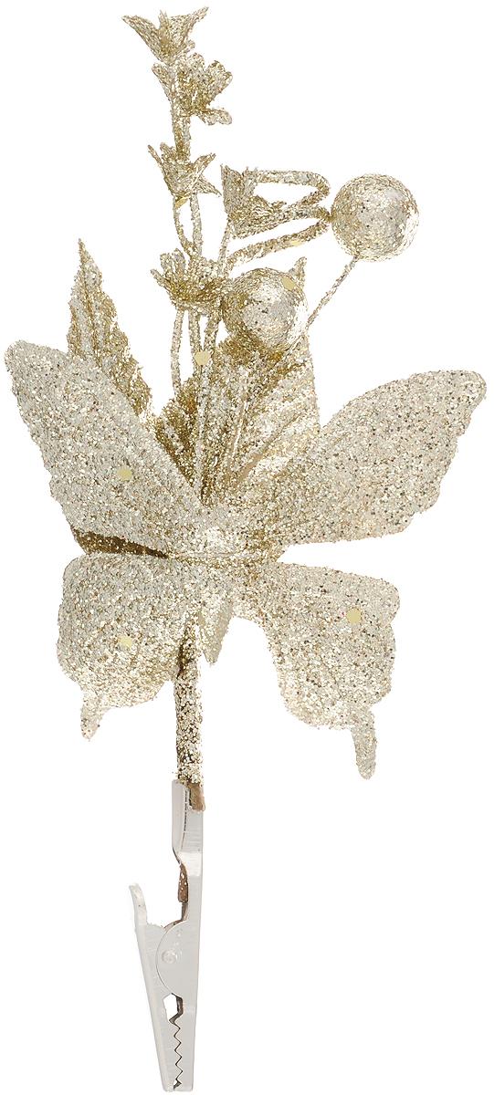 Украшение новогоднее Феникс-Презент Бабочка золотая, на клипсе, 14 x 12 см42503Новогоднее украшение Феникс-Презент Бабочка золотая выполнено из поливинилхлорида в форме бабочки с букетом. Изделие крепится с помощью клипсы. Украшение можно прикрепить в любом понравившемся вам месте. Но, конечно, удачнее всего оно будет смотреться на праздничной елке.Елочная игрушка - символ Нового года. Она несет в себе волшебство и красоту праздника. Создайте в своем доме атмосферу веселья и радости, украшая новогоднюю елку нарядными игрушками, которые будут из года в год накапливать теплоту воспоминаний.Материал: поливинилхлорид.Размеры: 14 х 12 см.