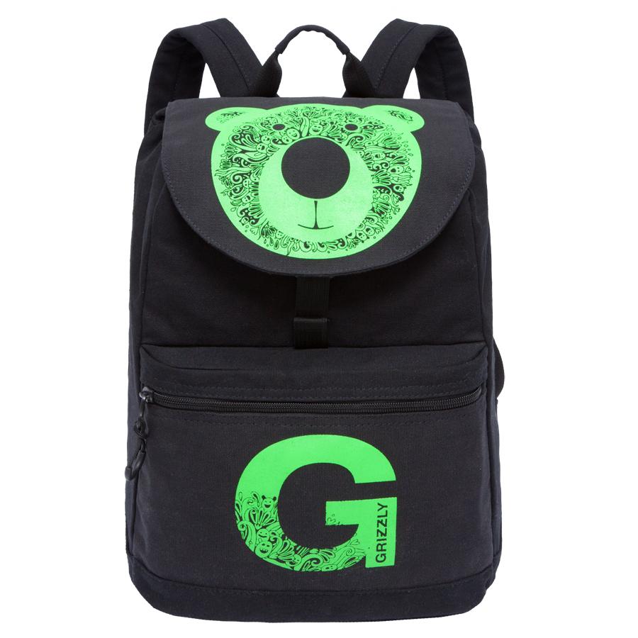 Рюкзак молодежный Grizzly, цвет: черный-салатовый. 18 лRD-744-1/1Рюкзак Grizzly выполнен из высококачественного брезента и оформлен оригинальным принтом. Изделие имеет одно отделение, клапан на пряжке-крючкеобъемный карман на молнии на передней стенке, карман для гаджета, внутренний карман на молнии, укрепленную спинку, дополнительную ручку-петлю, укрепленные лямки.Рюкзак закрывается затягивающимся шнуром и клапаном.